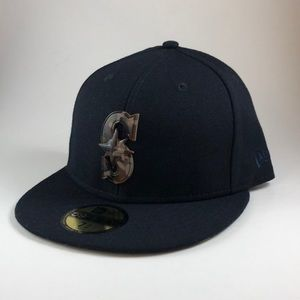 New Era Seattle Mariners Camo Logo Fitted Cap